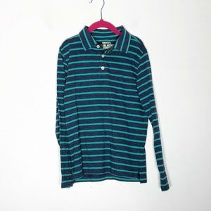Crewcuts Polo Shirt Boys 8 Blue Mint Striped  Long